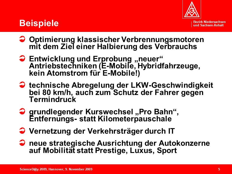Bezirk Niedersachsen und Sachsen-Anhalt 5ScienceD@y 2009, Hannover, 9. November 2009 Beispiele Optimierung klassischer Verbrennungsmotoren mit dem Zie