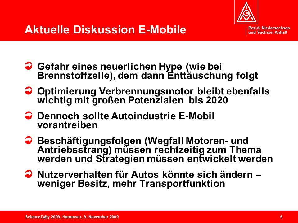 Bezirk Niedersachsen und Sachsen-Anhalt 6ScienceD@y 2009, Hannover, 9. November 2009 Aktuelle Diskussion E-Mobile Gefahr eines neuerlichen Hype (wie b