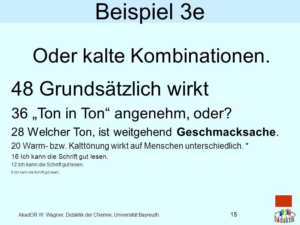 AkadOR W. Wagner, Didaktik der Chemie, Universität Bayreuth Beispiel 3d 48 Reduzierter Kontrast 36 kann bei viel Licht schlechter 28 lesbar werden. 20