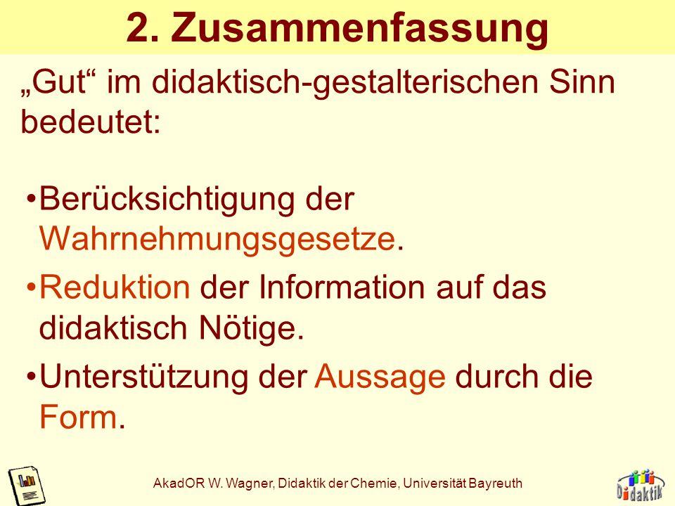 AkadOR W. Wagner, Didaktik der Chemie, Universität Bayreuth Anwendung