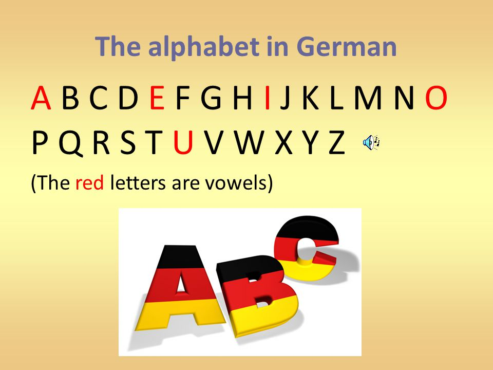 The alphabet in German A B C D E F G H I J K L M N O P Q R S T U V W X Y Z (The red letters are vowels)