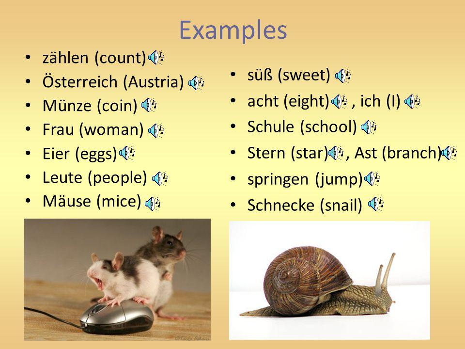 Examples zählen (count) Österreich (Austria) Münze (coin) Frau (woman) Eier (eggs) Leute (people) Mäuse (mice) süß (sweet) acht (eight), ich (I) Schule (school) Stern (star), Ast (branch) springen (jump) Schnecke (snail)
