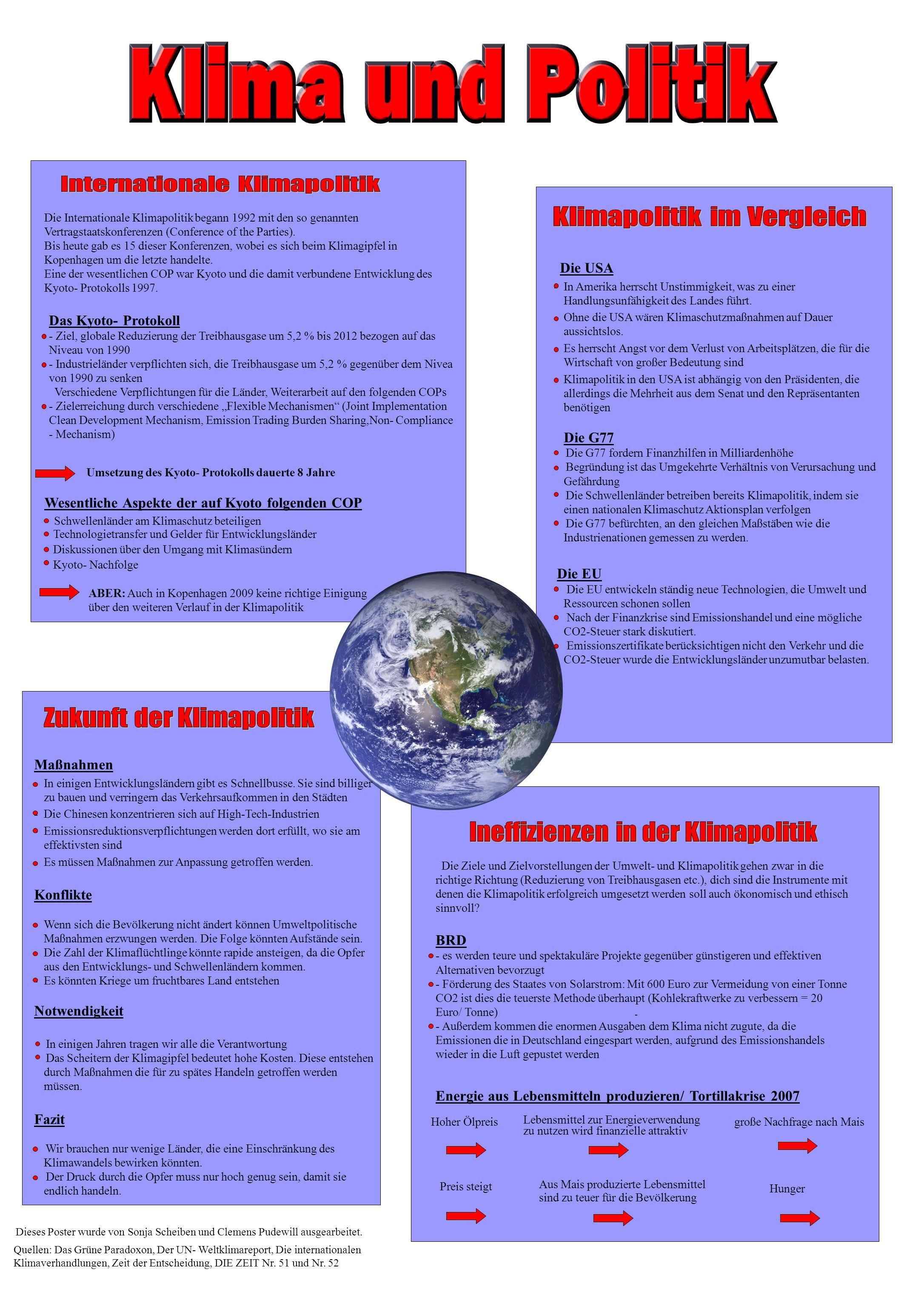 - Die Internationale Klimapolitik begann 1992 mit den so genannten Vertragstaatskonferenzen (Conference of the Parties).