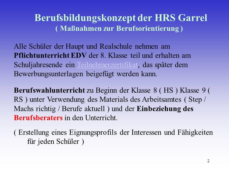 2 Berufsbildungskonzept der HRS Garrel ( Maßnahmen zur Berufsorientierung ) Alle Schüler der Haupt und Realschule nehmen am Pflichtunterricht EDV der 8.
