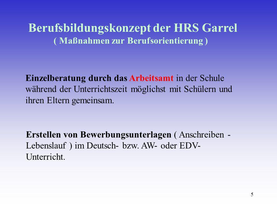5 Berufsbildungskonzept der HRS Garrel ( Maßnahmen zur Berufsorientierung ) Einzelberatung durch das Arbeitsamt in der Schule während der Unterrichtszeit möglichst mit Schülern und ihren Eltern gemeinsam.