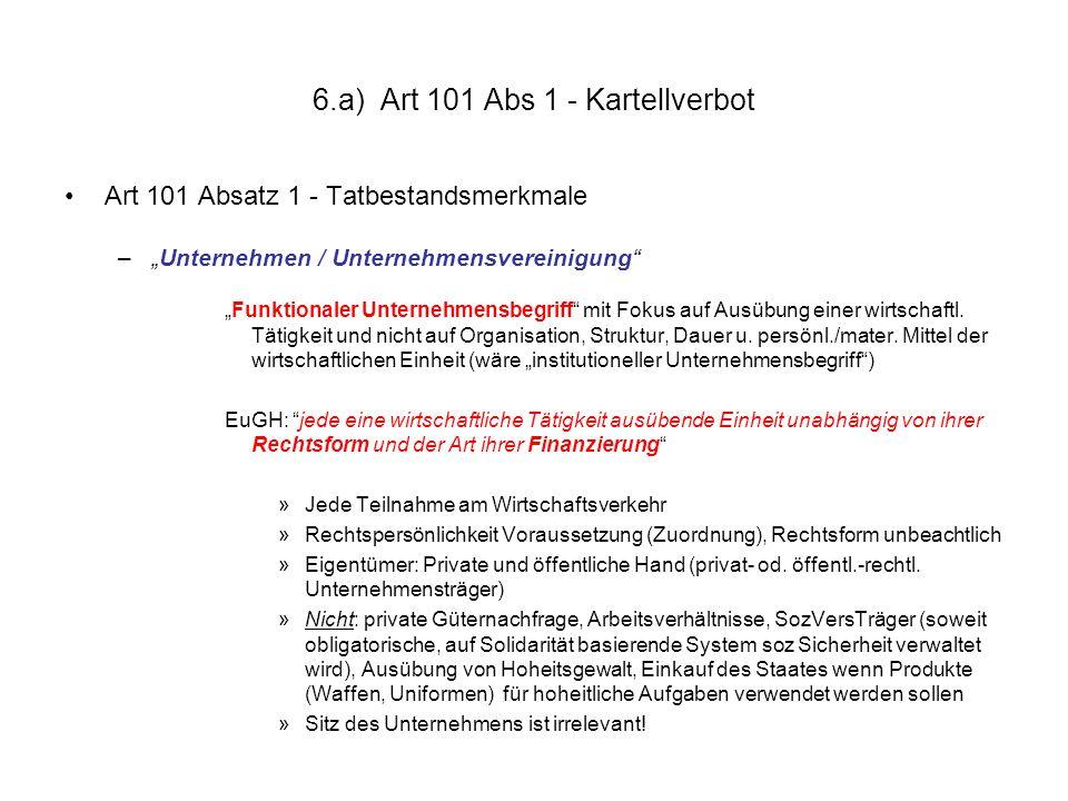 "6.a) Art 101 Abs 1 - Kartellverbot Art 101 Absatz 1 – Tatbestandsmerkmale (Forts): –""Vereinbarungen / Beschlüsse / aufeinand."