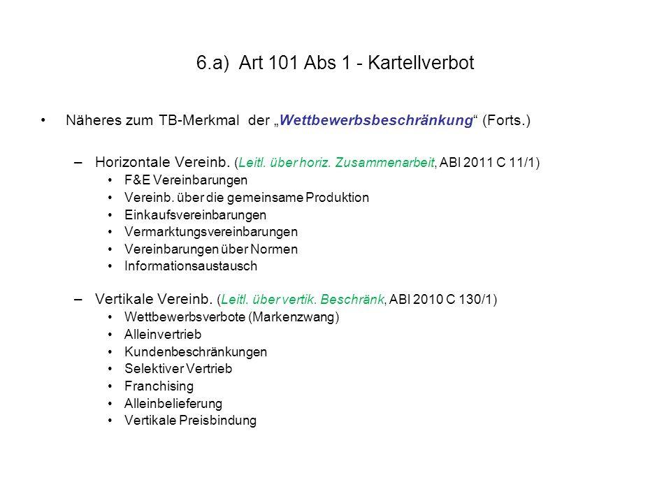 "6.a) Art 101 Abs 1 - Kartellverbot Näheres zum TB-Merkmal der ""Wettbewerbsbeschränkung (Forts.) –Horizontale Vereinb."
