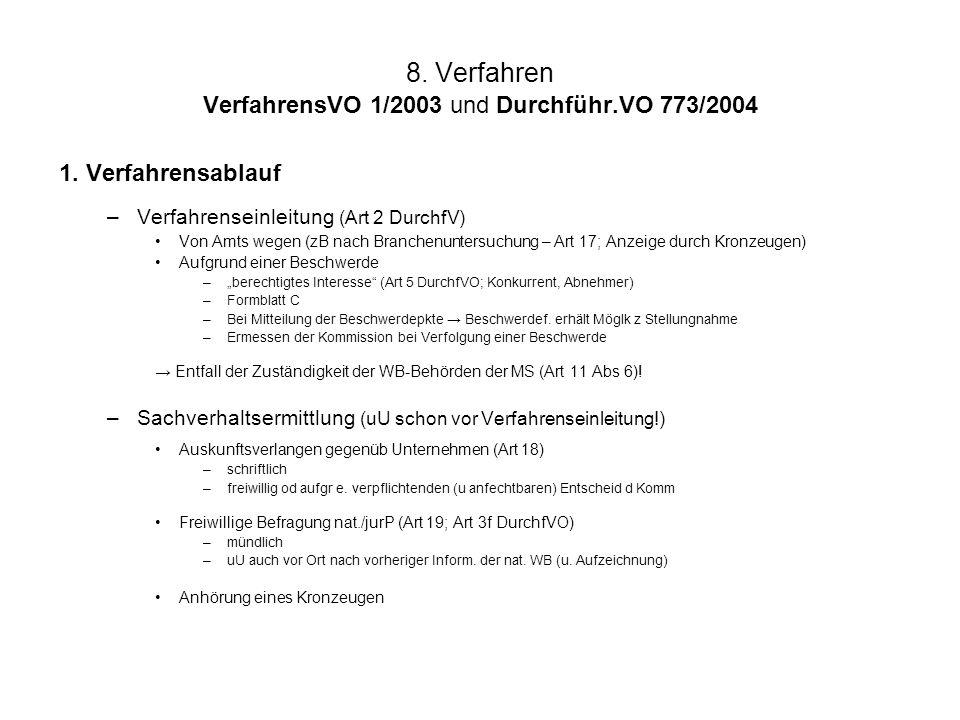 8. Verfahren VerfahrensVO 1/2003 und Durchführ.VO 773/2004 1. Verfahrensablauf –Verfahrenseinleitung (Art 2 DurchfV) Von Amts wegen (zB nach Branchenu
