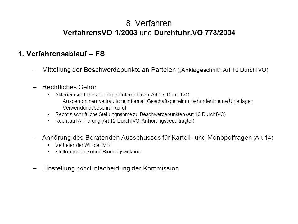 """8. Verfahren VerfahrensVO 1/2003 und Durchführ.VO 773/2004 1. Verfahrensablauf – FS –Mitteilung der Beschwerdepunkte an Parteien (""""Anklageschrift""""; Ar"""
