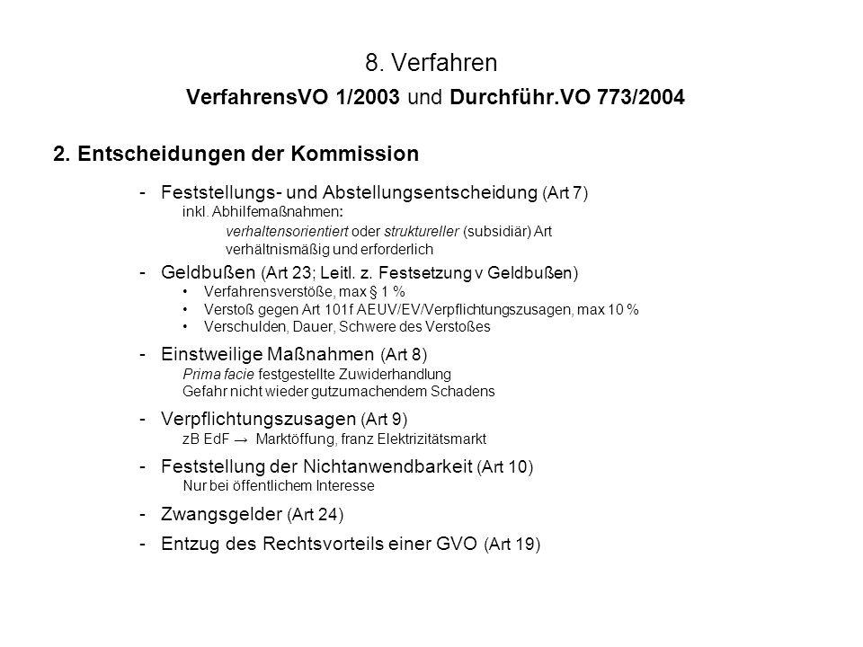 8. Verfahren VerfahrensVO 1/2003 und Durchführ.VO 773/2004 2. Entscheidungen der Kommission -Feststellungs- und Abstellungsentscheidung (Art 7) inkl.