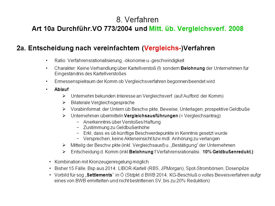 8. Verfahren Art 10a Durchführ.VO 773/2004 und Mitt. üb. Vergleichsverf. 2008 2a. Entscheidung nach vereinfachtem (Vergleichs-)Verfahren Ratio: Verfah