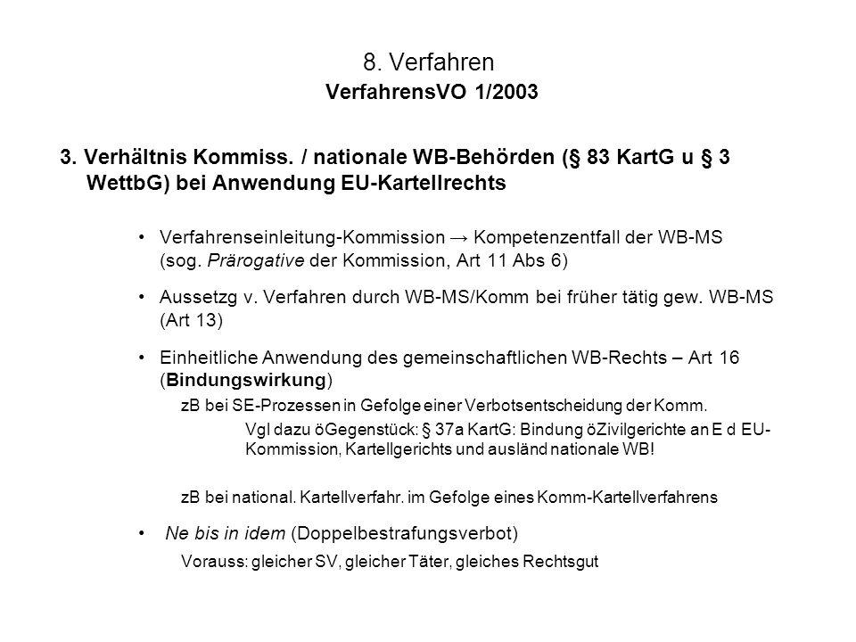 8. Verfahren VerfahrensVO 1/2003 3. Verhältnis Kommiss. / nationale WB-Behörden (§ 83 KartG u § 3 WettbG) bei Anwendung EU-Kartellrechts Verfahrensein