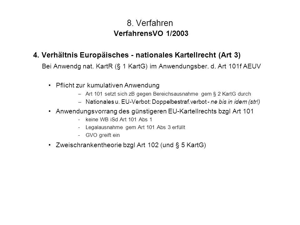 8. Verfahren VerfahrensVO 1/2003 4. Verhältnis Europäisches - nationales Kartellrecht (Art 3) Bei Anwendg nat. KartR (§ 1 KartG) im Anwendungsber. d.