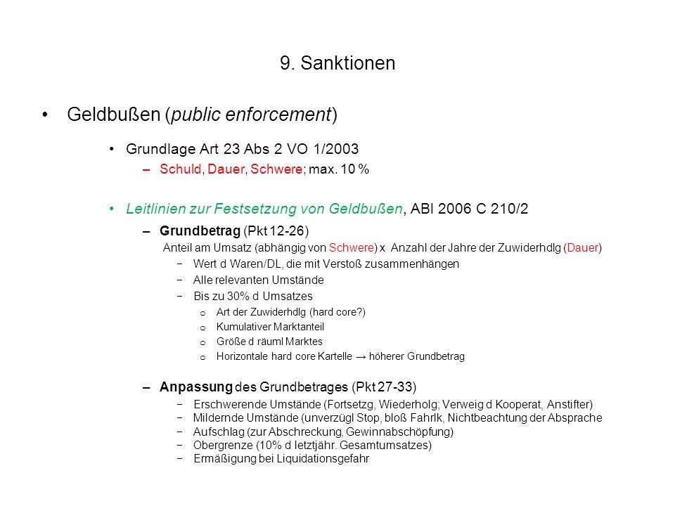 9. Sanktionen Geldbußen (public enforcement) Grundlage Art 23 Abs 2 VO 1/2003 –Schuld, Dauer, Schwere; max. 10 % Leitlinien zur Festsetzung von Geldbu