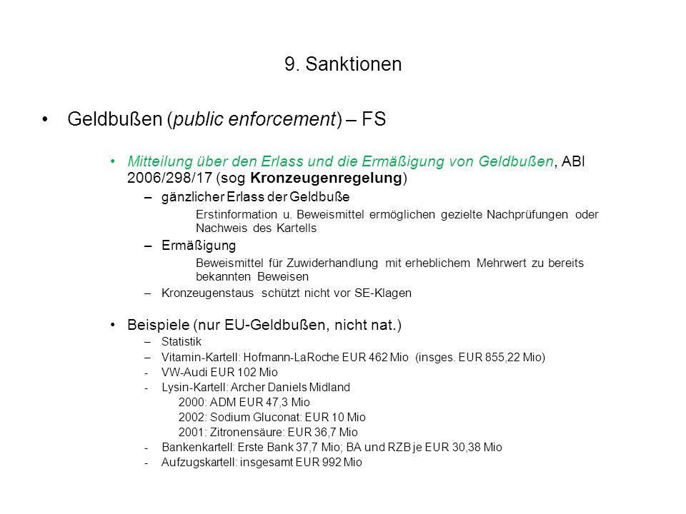 9. Sanktionen Geldbußen (public enforcement) – FS Mitteilung über den Erlass und die Ermäßigung von Geldbußen, ABl 2006/298/17 (sog Kronzeugenregelung