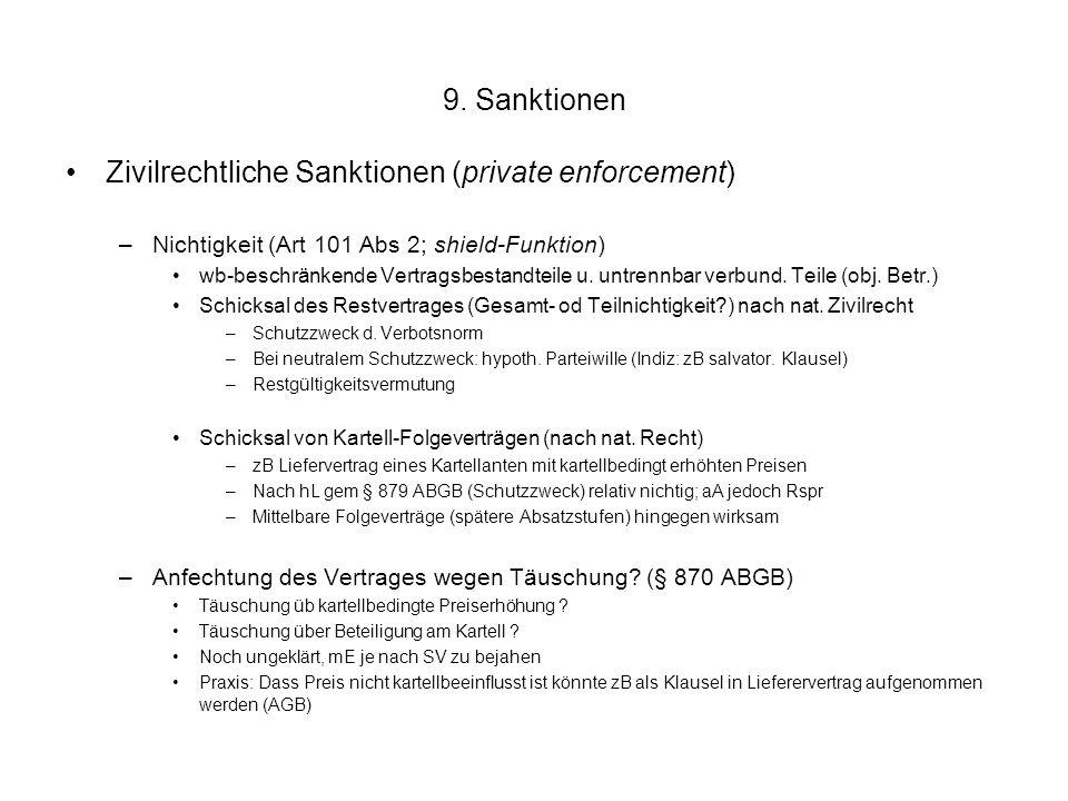 9. Sanktionen Zivilrechtliche Sanktionen (private enforcement) –Nichtigkeit (Art 101 Abs 2; shield-Funktion) wb-beschränkende Vertragsbestandteile u.