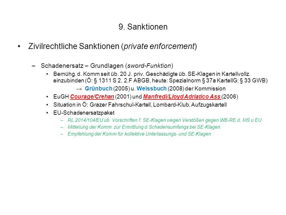 9. Sanktionen Zivilrechtliche Sanktionen (private enforcement) –Schadenersatz – Grundlagen (sword-Funktion) Bemühg. d. Komm seit üb. 20 J. priv. Gesch