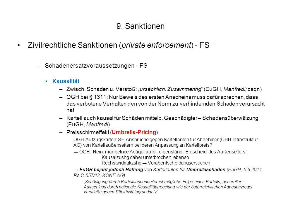 """9. Sanktionen Zivilrechtliche Sanktionen (private enforcement) - FS  Schadenersatzvoraussetzungen - FS Kausalität –Zwisch. Schaden u. Verstoß: """"ursäc"""