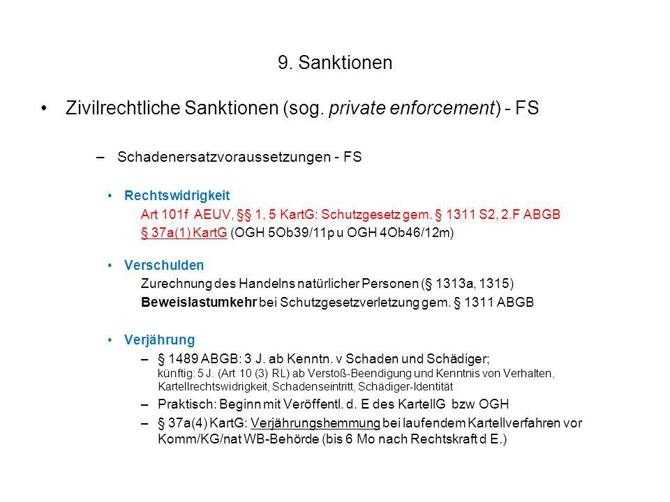 9. Sanktionen Zivilrechtliche Sanktionen (sog. private enforcement) - FS –Schadenersatzvoraussetzungen - FS Rechtswidrigkeit Art 101f AEUV, §§ 1, 5 Ka