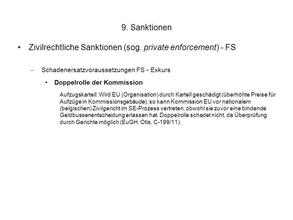 9. Sanktionen Zivilrechtliche Sanktionen (sog. private enforcement) - FS  Schadenersatzvoraussetzungen FS - Exkurs Doppelrolle der Kommission Aufzugs