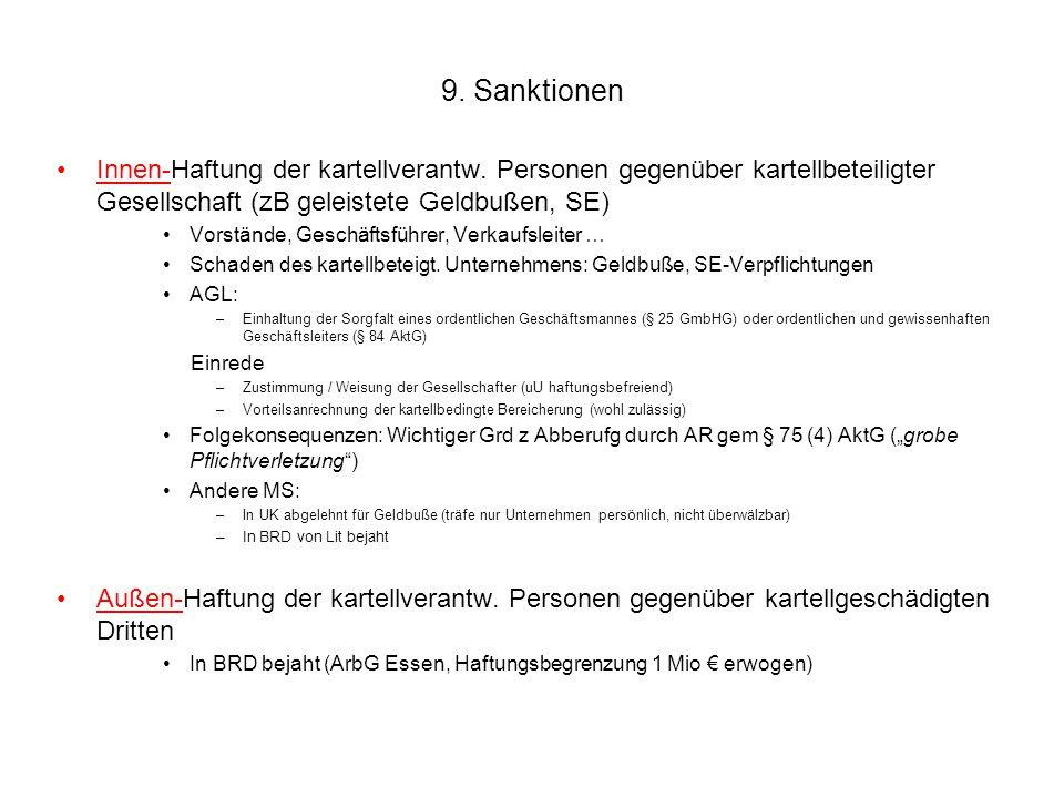 9. Sanktionen Innen-Haftung der kartellverantw. Personen gegenüber kartellbeteiligter Gesellschaft (zB geleistete Geldbußen, SE) Vorstände, Geschäftsf