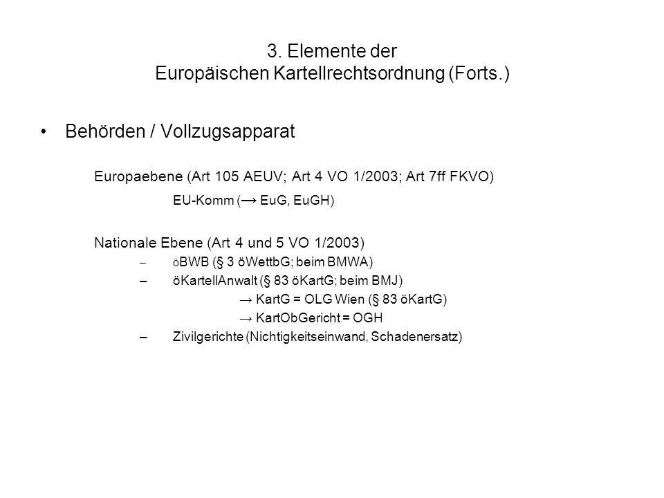 3. Elemente der Europäischen Kartellrechtsordnung (Forts.) Behörden / Vollzugsapparat Europaebene (Art 105 AEUV; Art 4 VO 1/2003; Art 7ff FKVO) EU-Kom