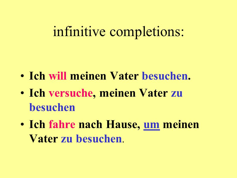 infinitive completions: Ich will meinen Vater besuchen. Ich versuche, meinen Vater zu besuchen Ich fahre nach Hause, um meinen Vater zu besuchen.