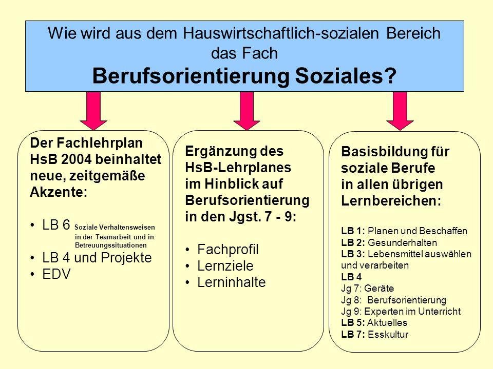 Wie wird aus dem Hauswirtschaftlich-sozialen Bereich das Fach Berufsorientierung Soziales.