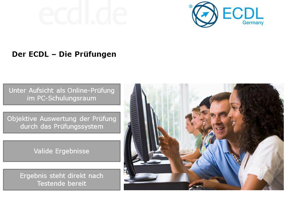 Der ECDL – Die Prüfungen Unter Aufsicht als Online-Prüfung im PC-Schulungsraum Objektive Auswertung der Prüfung durch das Prüfungssystem Valide Ergebn