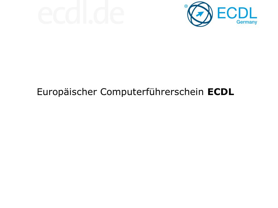 Der ECDL-Lehrplan (Syllabus) – Standard für Computerbildung LehrstoffgebietTeilegebiet Referenz Nr.