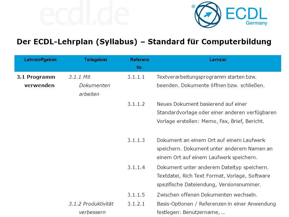 Der ECDL-Lehrplan (Syllabus) – Standard für Computerbildung LehrstoffgebietTeilegebiet Referenz Nr. Lernziel 3.1 Programm verwenden 3.1.1 Mit Dokument