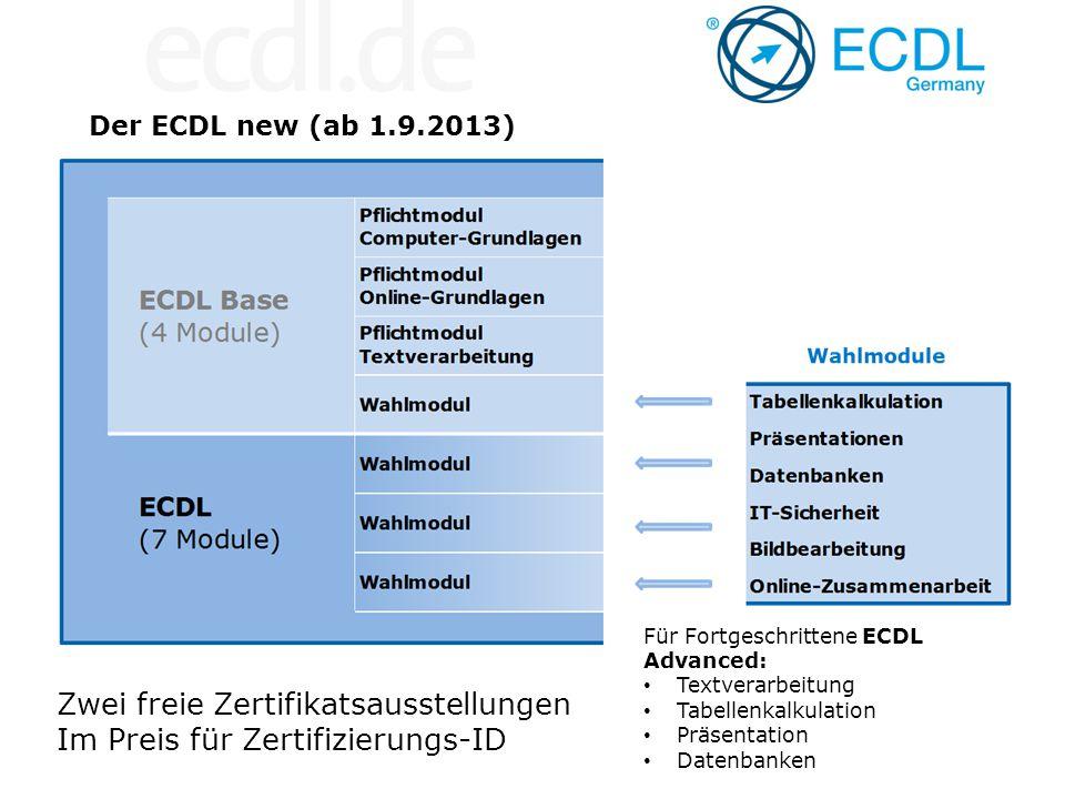 Der ECDL new (ab 1.9.2013) Zwei freie Zertifikatsausstellungen Im Preis für Zertifizierungs-ID Für Fortgeschrittene ECDL Advanced: Textverarbeitung Ta