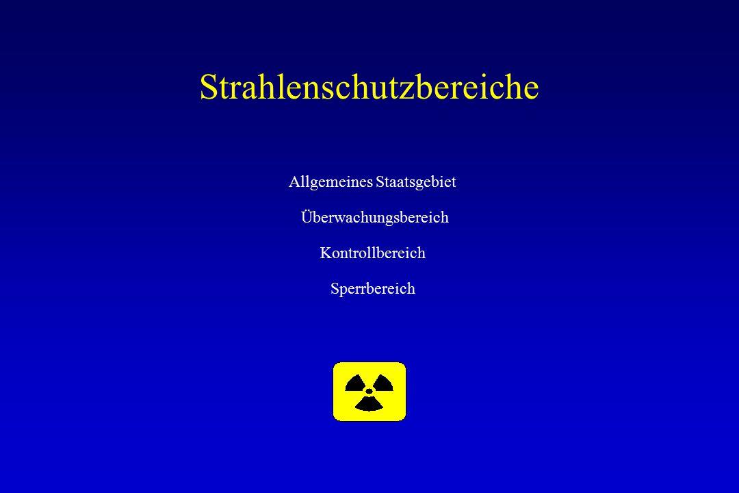 Strahlenschutzbereiche Allgemeines Staatsgebiet Überwachungsbereich Kontrollbereich Sperrbereich