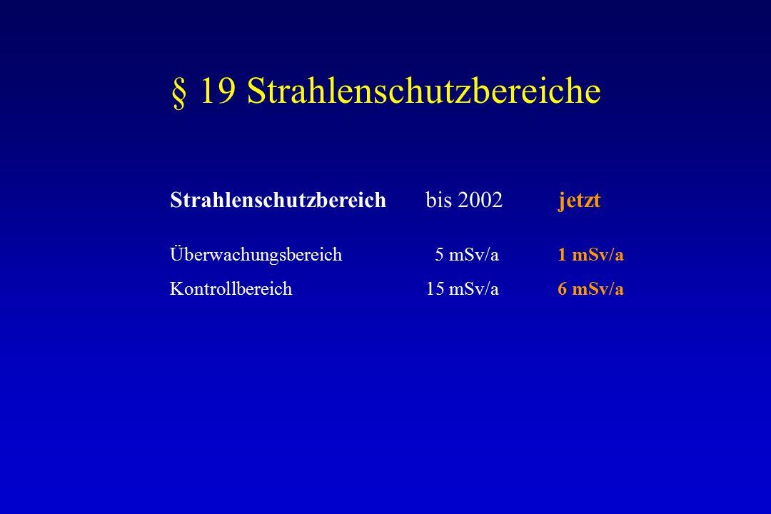 § 19 Strahlenschutzbereiche Strahlenschutzbereichbis 2002 jetzt Überwachungsbereich 5 mSv/a 1 mSv/a Kontrollbereich15 mSv/a 6 mSv/a