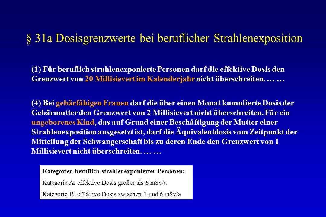 § 31a Dosisgrenzwerte bei beruflicher Strahlenexposition (1) Für beruflich strahlenexponierte Personen darf die effektive Dosis den Grenzwert von 20 Millisievert im Kalenderjahr nicht überschreiten.