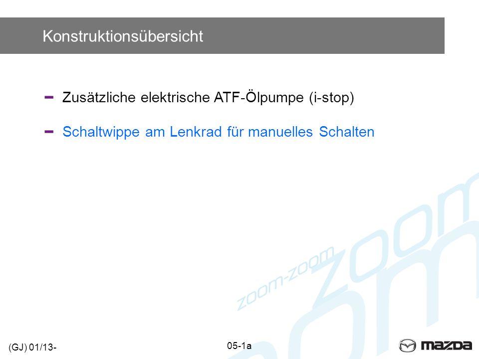 Konstruktionsübersicht Zusätzliche elektrische ATF-Ölpumpe (i-stop) Schaltwippe am Lenkrad für manuelles Schalten (GJ) 01/13- 05-1a