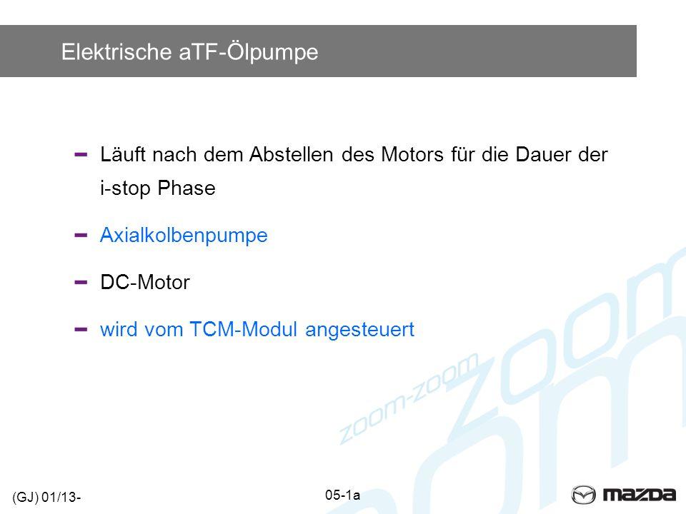 Elektrische aTF-Ölpumpe Läuft nach dem Abstellen des Motors für die Dauer der i-stop Phase Axialkolbenpumpe DC-Motor wird vom TCM-Modul angesteuert (G