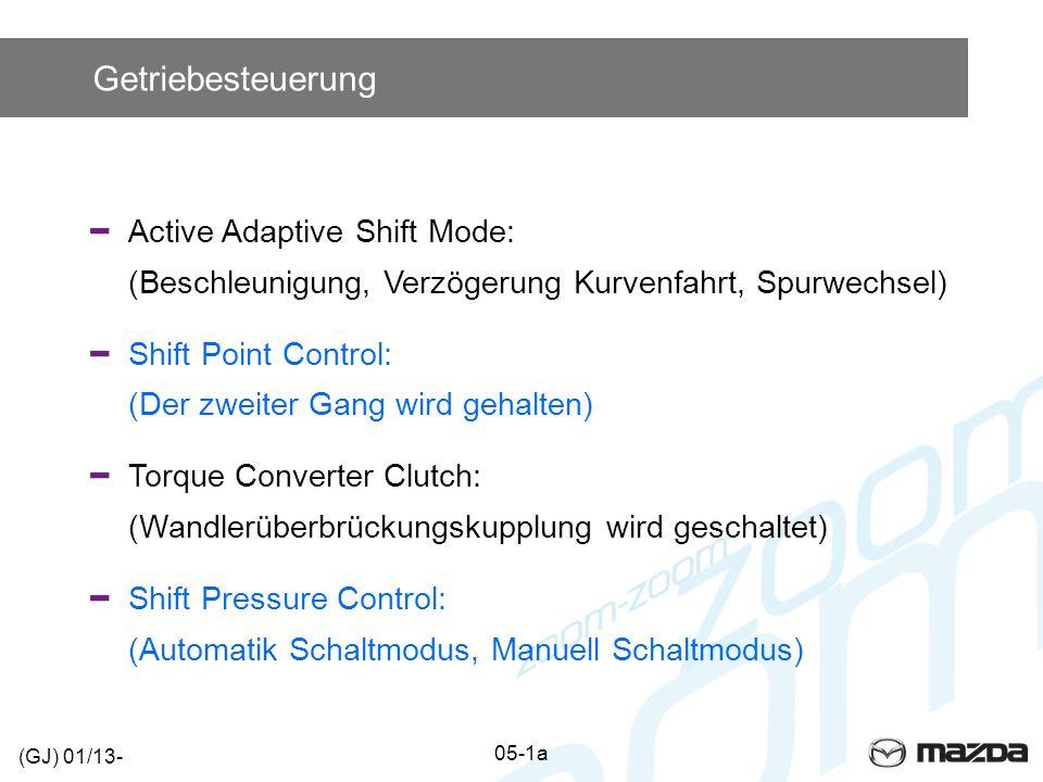 Getriebesteuerung Active Adaptive Shift Mode: (Beschleunigung, Verzögerung Kurvenfahrt, Spurwechsel) Shift Point Control: (Der zweiter Gang wird gehal