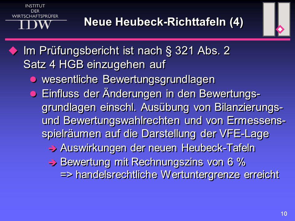 10 Neue Heubeck-Richttafeln (4)  Im Prüfungsbericht ist nach § 321 Abs. 2 Satz 4 HGB einzugehen auf wesentliche Bewertungsgrundlagen Einfluss der Änd
