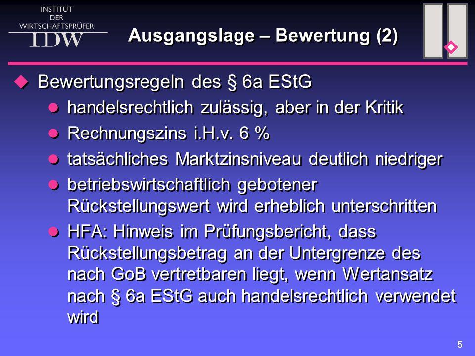5 Ausgangslage – Bewertung (2)  Bewertungsregeln des § 6a EStG handelsrechtlich zulässig, aber in der Kritik Rechnungszins i.H.v. 6 % tatsächliches M