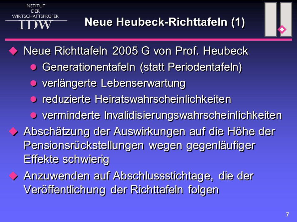 7 Neue Heubeck-Richttafeln (1)  Neue Richttafeln 2005 G von Prof. Heubeck Generationentafeln (statt Periodentafeln) verlängerte Lebenserwartung reduz