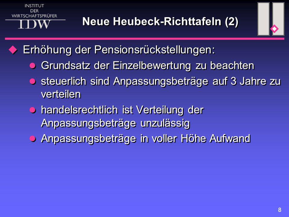 8 Neue Heubeck-Richttafeln (2)  Erhöhung der Pensionsrückstellungen: Grundsatz der Einzelbewertung zu beachten steuerlich sind Anpassungsbeträge auf