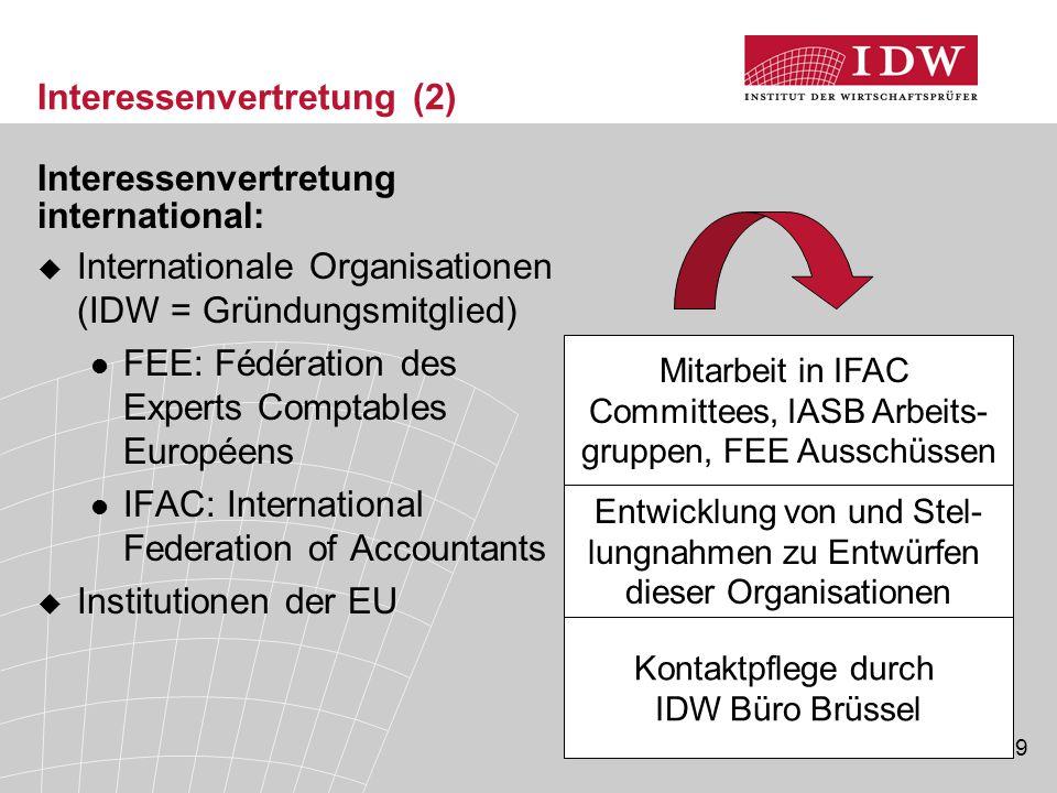 19 Interessenvertretung (2) Interessenvertretung international:  Internationale Organisationen (IDW = Gründungsmitglied) FEE: Fédération des Experts