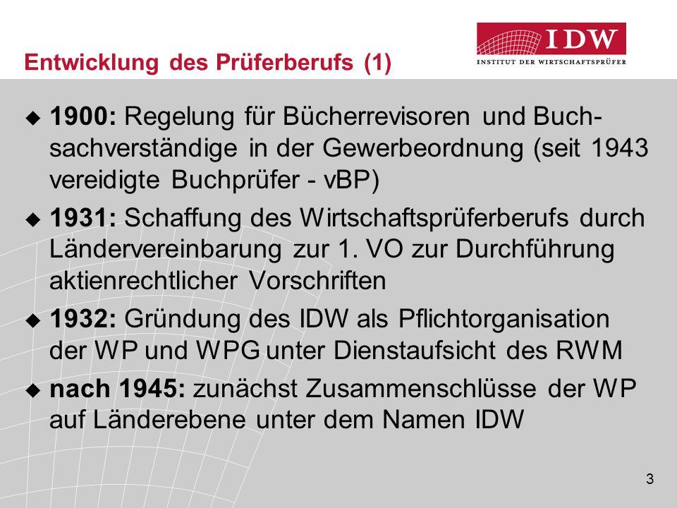 3 Entwicklung des Prüferberufs (1)  1900: Regelung für Bücherrevisoren und Buch- sachverständige in der Gewerbeordnung (seit 1943 vereidigte Buchprüfer - vBP)  1931: Schaffung des Wirtschaftsprüferberufs durch Ländervereinbarung zur 1.
