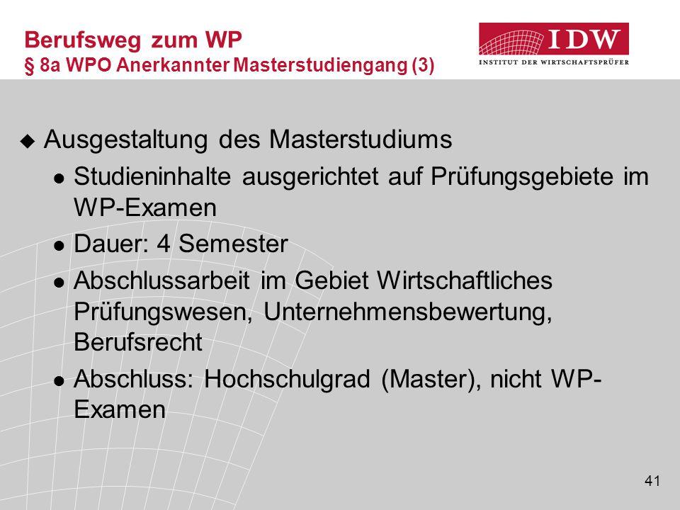 41  Ausgestaltung des Masterstudiums Studieninhalte ausgerichtet auf Prüfungsgebiete im WP-Examen Dauer: 4 Semester Abschlussarbeit im Gebiet Wirtsch