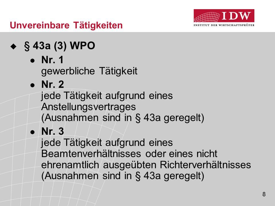 8 Unvereinbare Tätigkeiten  § 43a (3) WPO Nr.1 gewerbliche Tätigkeit Nr.