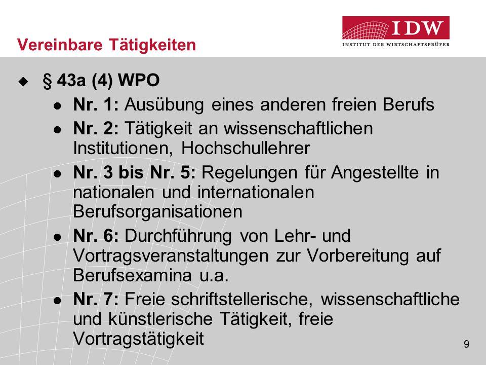 9 Vereinbare Tätigkeiten  § 43a (4) WPO Nr.1: Ausübung eines anderen freien Berufs Nr.