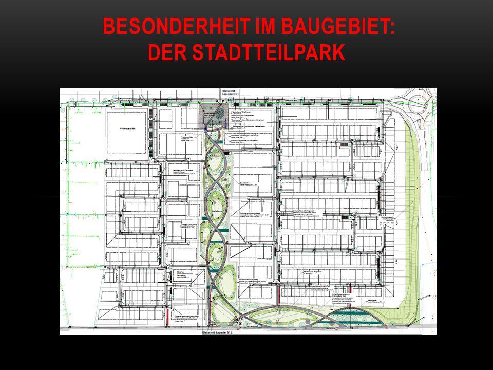 Termine des Stadtteilparkes: Baubeginn: 29.6.2015 – ist erfolgt Wegebauarbeiten und Geländemodellierung, Anlegen der Spielbereiche von Süd-Ost nach Nord West bis ca.