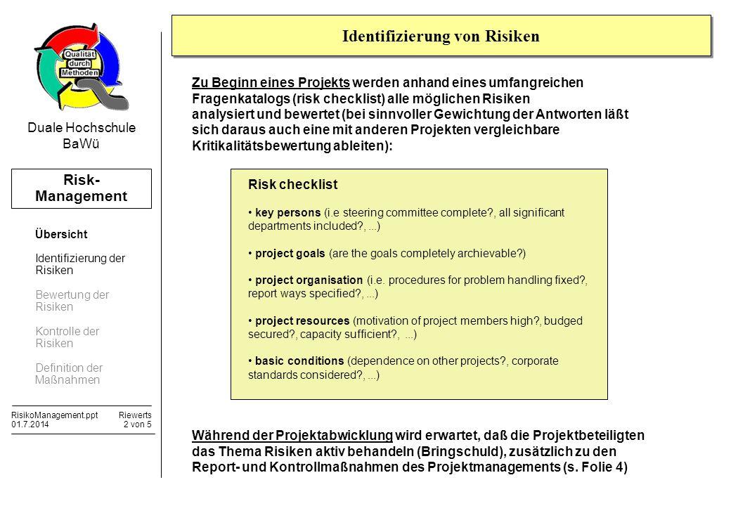 Risk- Management RisikoManagement.pptRiewerts 01.7.20142 von 5 Duale Hochschule BaWü Identifizierung von Risiken Risk checklist key persons (i.e steer
