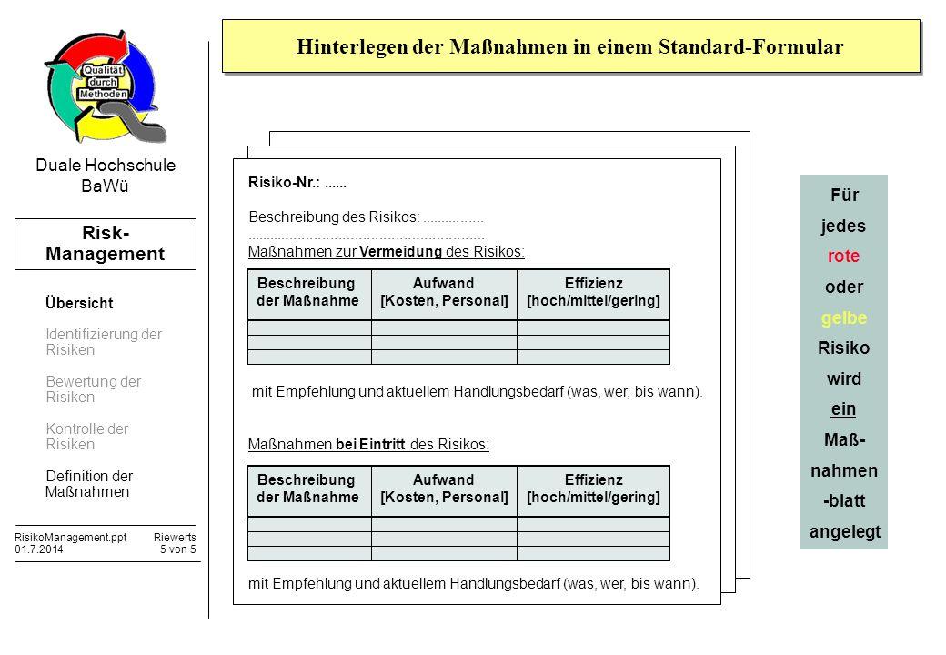 Risk- Management RisikoManagement.pptRiewerts 01.7.20145 von 5 Duale Hochschule BaWü Hinterlegen der Maßnahmen in einem Standard-Formular Risiko-Nr.:.